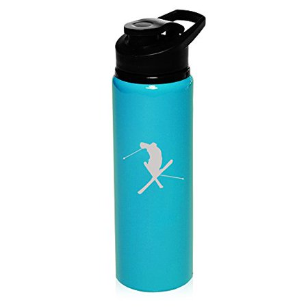 25 oz Aluminum Sports Water Travel Bottle Ski Skier Extreme Sports Trick (Light-Blue) ()