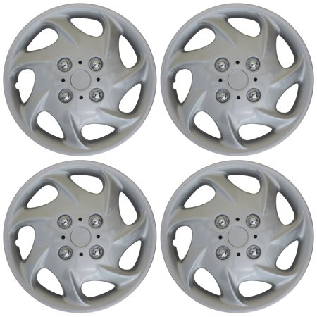 "4pc Hub Cap ABS Silver 15"" Inch Rim Wheel Cover Universal"