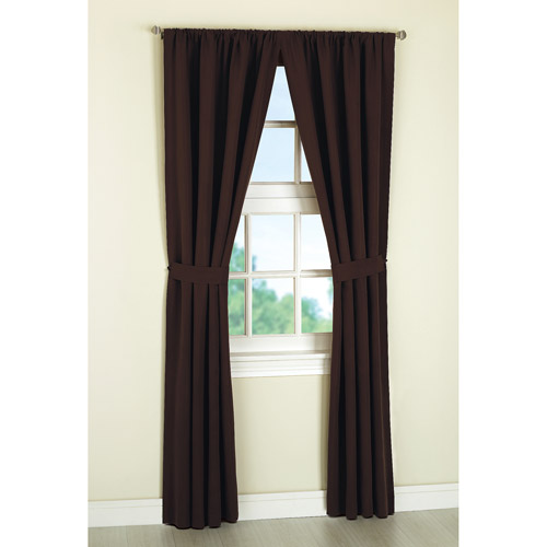 Mainstays Microfiber Curtain Panels, Set of 2, with Tiebacks