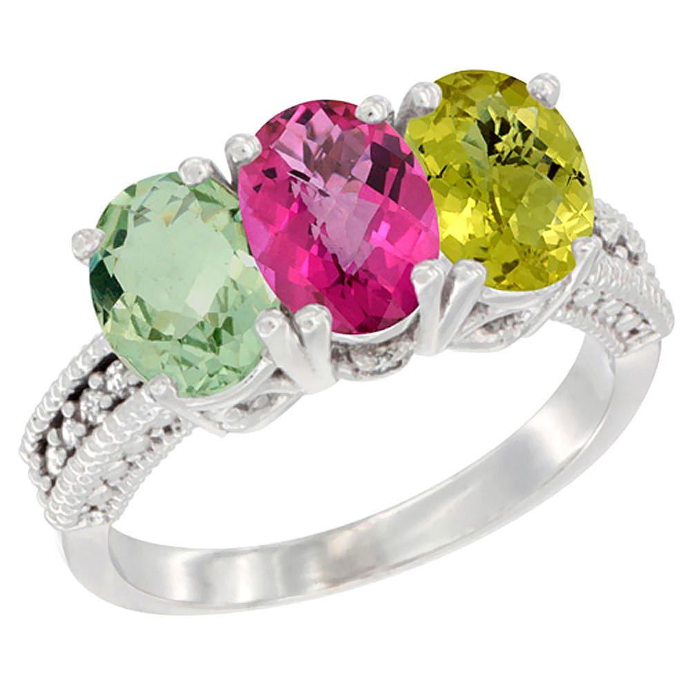 10K White Gold Natural Green Amethyst, Pink Topaz & Lemon Quartz Ring 3-Stone Oval 7x5 mm Diamond Accent, sizes 5 10 by WorldJewels