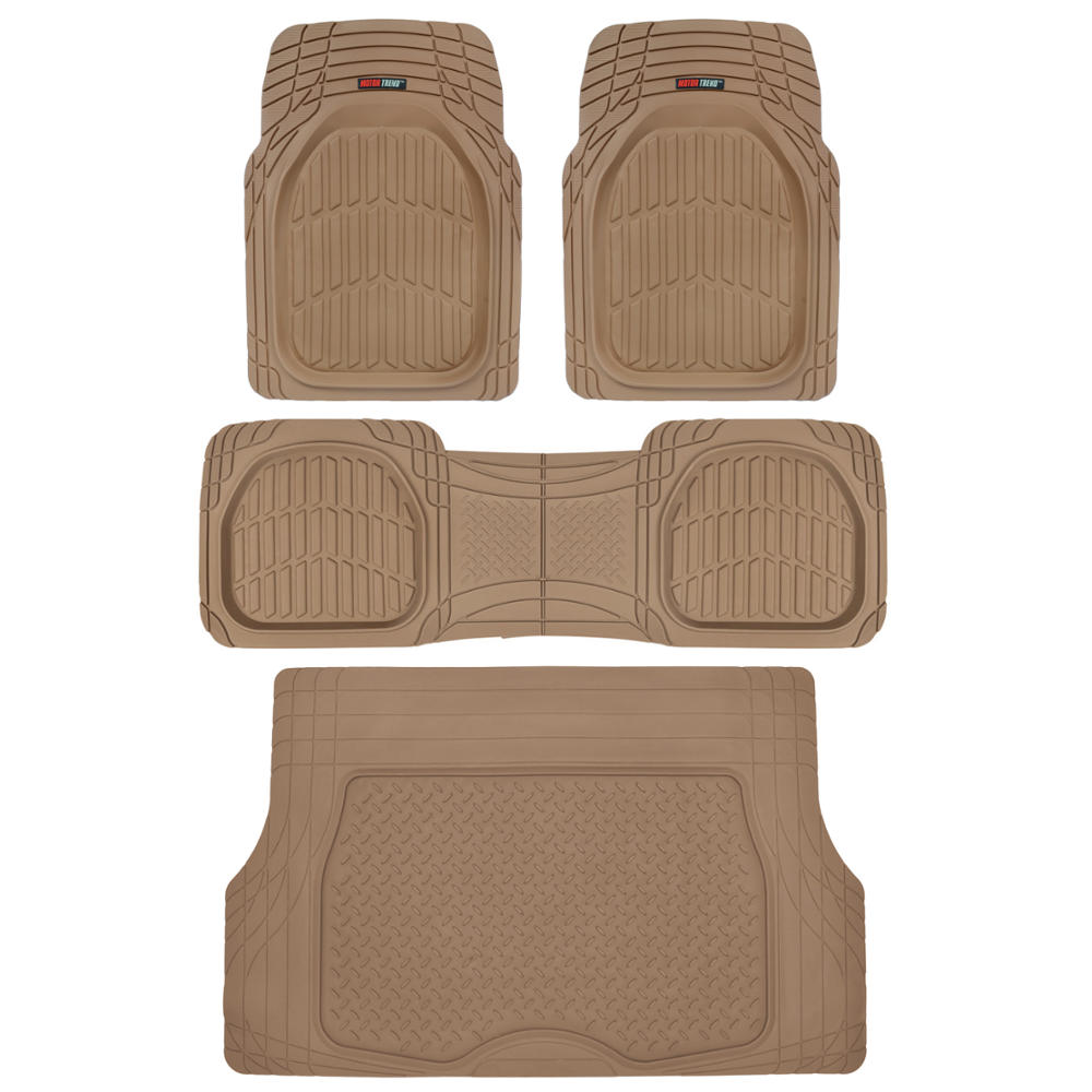 Motor Trend FlexTough Car Floor Mats with Cargo Trunk Mat 100 % Odorless, Real Heavy Duty Protection for Car SUV Truck & Van