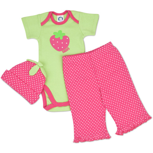 Gerber - Newborn Girls' 3-Piece Bodysuit and Pant Set