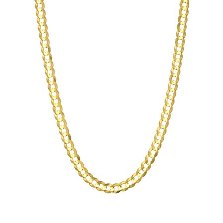 14 KARAT YELLOW GOLD SOLID CURB 3.60MM WIDE CHAIN WITH LOBSTER CLASP IN 24 INCHES LONG 14k Solid Gold Nugget