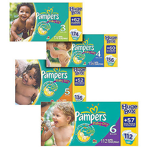 Pampers Baby Dry Diapers Huge Box (Choose Your Size)