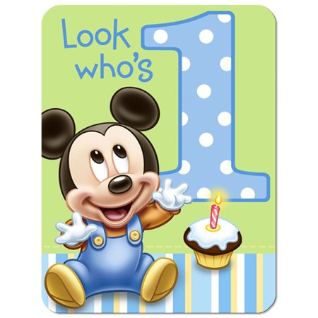Mickey Mouse 1st Birthday Invitations w/ Envelopes (8ct) - Mickey Mouse Birthday Photo Invitations