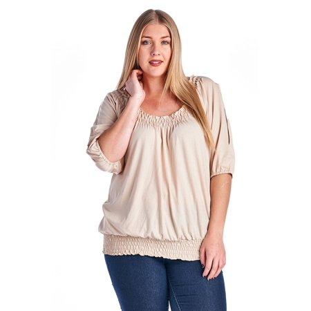 4da53463f53 Christine V - Christine V Women's Plus Size Smocked Peasant Top - Sand - 4X  - Walmart.com