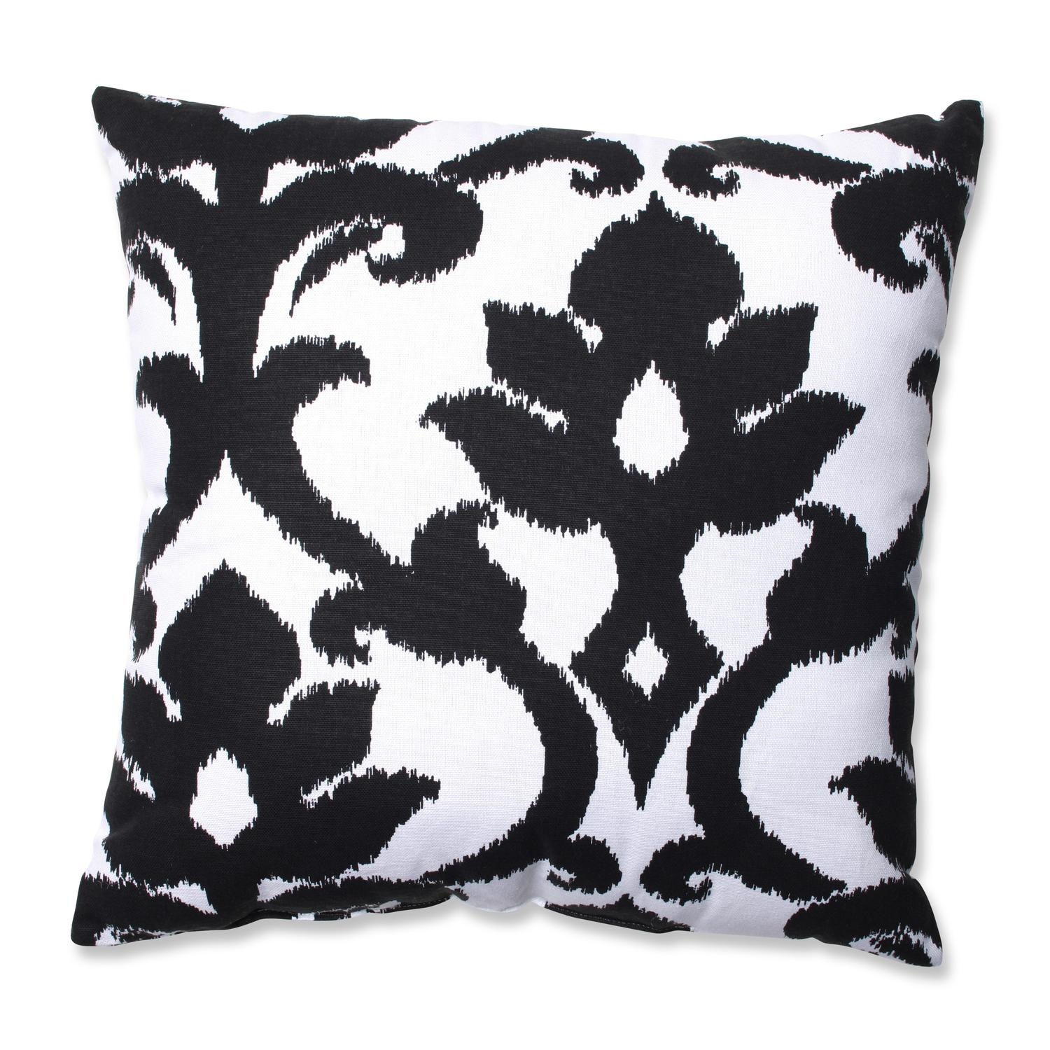 "16.5"" Azzure Jet Black and Winter White Floral Damask Ikat Throw Pillow by CC Home Furnishings"