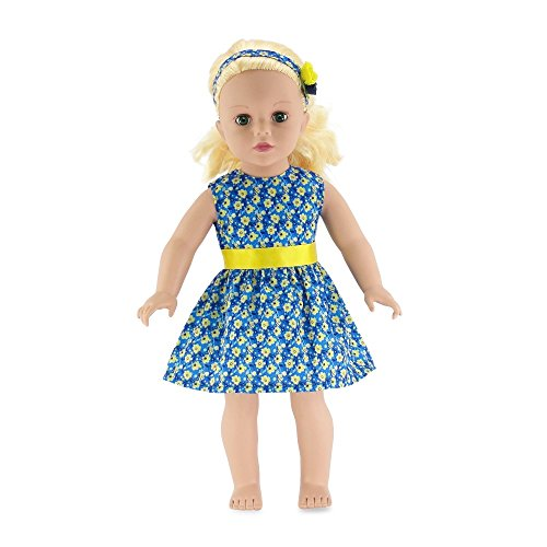 18 Inch Doll Clothes | Blue and Yellow Floral Party Dress, Including Matching Flowered Headband | Fits American Girl Dolls