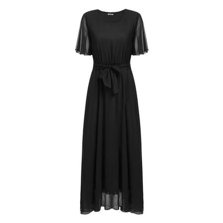 (Women Casual Ruffle Sleeve Solid O Neck Pullover Flare Maxi Chiffon Dress HITC)