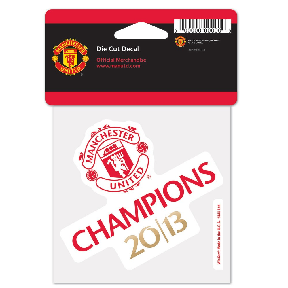Manchester United Official PREMIER LEAGUE 4 inch  x 4 inch  2013 Champions Perfect Cut Car Decal by Wincraft