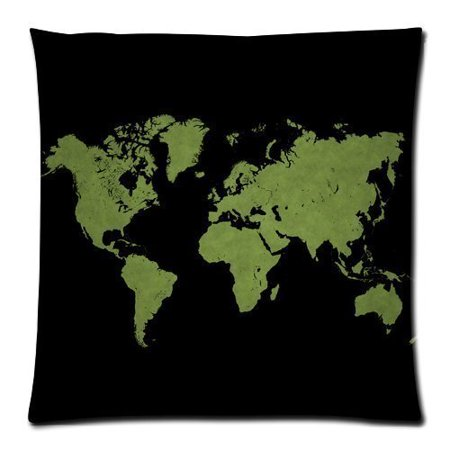 RYLABLUE Retro Art World Map On Black Zippered Throw Pillow Cover Cushion Case 18x18 inches Two Sides Printing - image 1 de 1