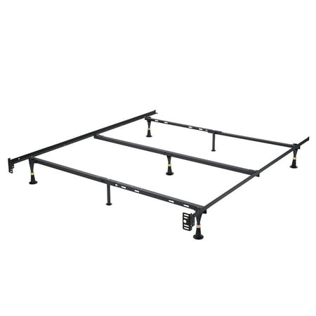 Hugo Adjustable Bed Frame, Heavy Duty Metal (Queen, Full, Full XL, Twin, Twin XL), With Center Support Rail & Center Support Legs (Glides Only) Side Rails Queen