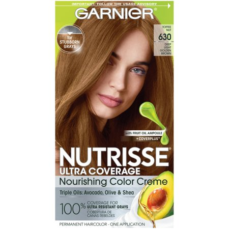 Garnier Nutrisse Ultra Coverage Nourishing Hair Color Creme, Deep Light Golden Brown (Toffee Nut) 630, 1
