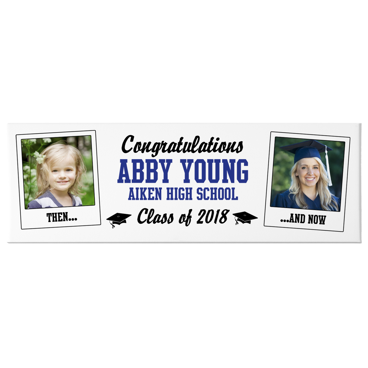 Personalized How Time Flies Photo Canvas -9x27-Available in 7 Colors