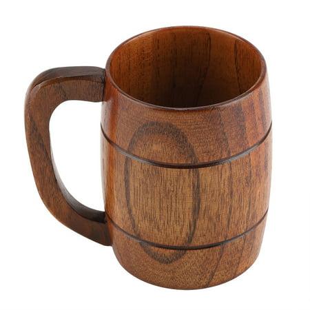 Ashata Natural Wooden Beer Cup Retro Big Capacity Tea Water Classic Wood Drinking Mug with Handle, Wood Beer Cup,Wooden Beer Mug - Inflatable Beer Mug