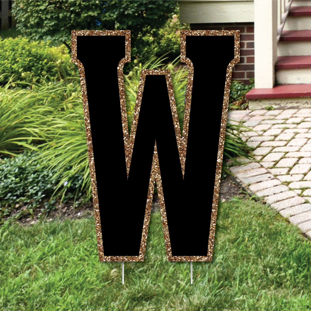 "Yard Letter W - Black and Gold - 15.5"" Letter Outdoor Lawn Party Decoration - Letter W"