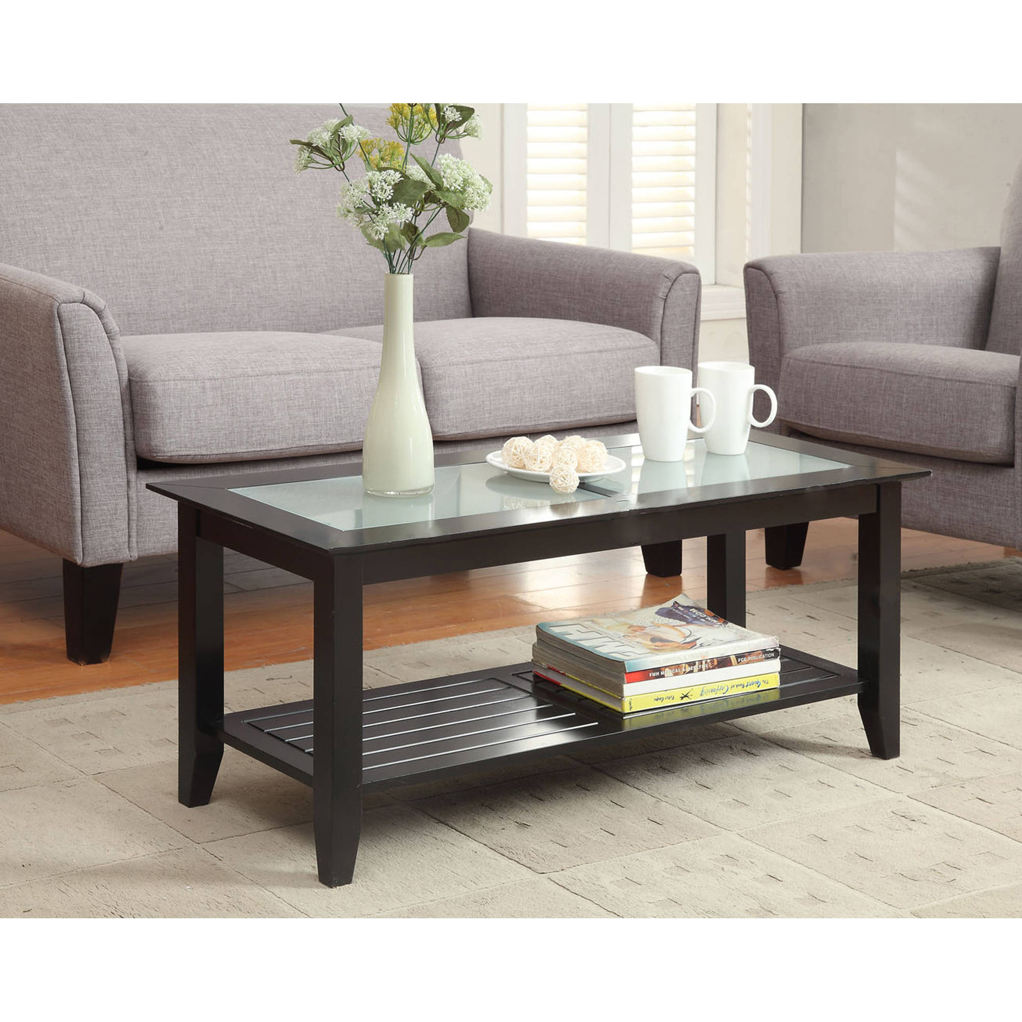 Black and wood coffee table - Convenience Concepts Carmel Coffee Table Multiple Colors Walmart Com