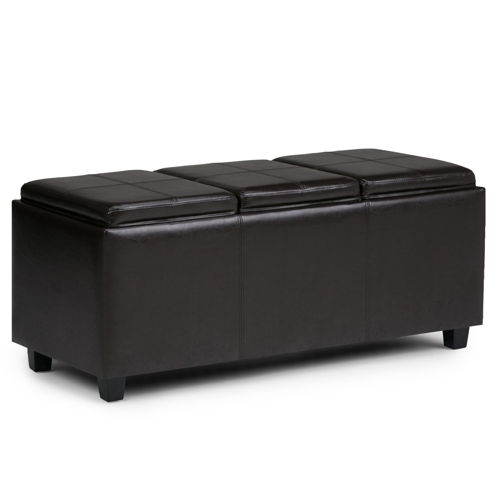 Simpli Home Avalon Extra Large Storage Ottoman With 3 Serving Trays Walmart Com Walmart Com