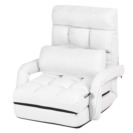 Costway Folding Lazy Sofa Lounger Bed Floor Chair Sofa w/ Armrests Pillow White - image 3 of 9