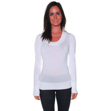 Neck Kit - Active USA Women's Basic All Occasion Scoop Neck Knit Sweater Long Sleeves - Junior Sizing