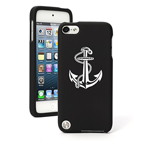 Apple iPod Touch 5 5th Generation Rubber Hard Case Cover Anchor with Rope (Black)