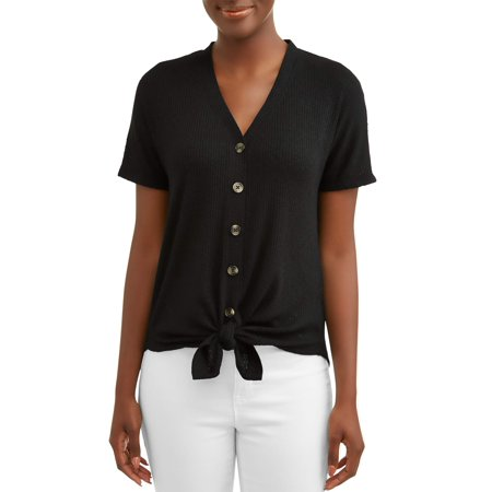 - Women's Button Front T-Shirt