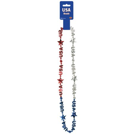 Morris Costumes Party Supplies Patriotic Usa Beads, Style BG57256](Party City Usa)