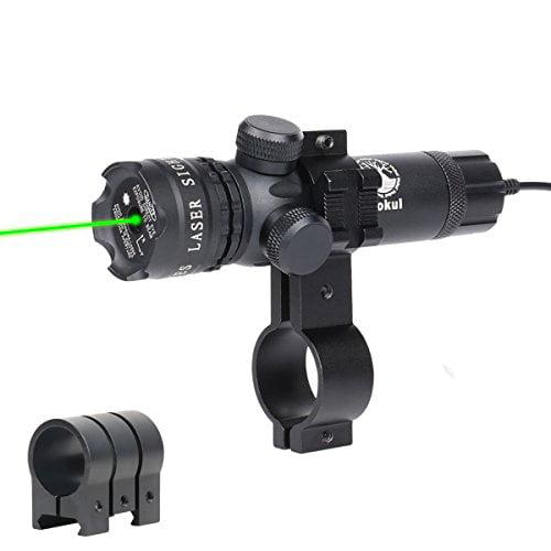 Vokul Shockproof 532nm Tactical Green Dot Laser Sight Rifle Gun Scope w  Rail & Barrel Mount Cap Pressure Switch by
