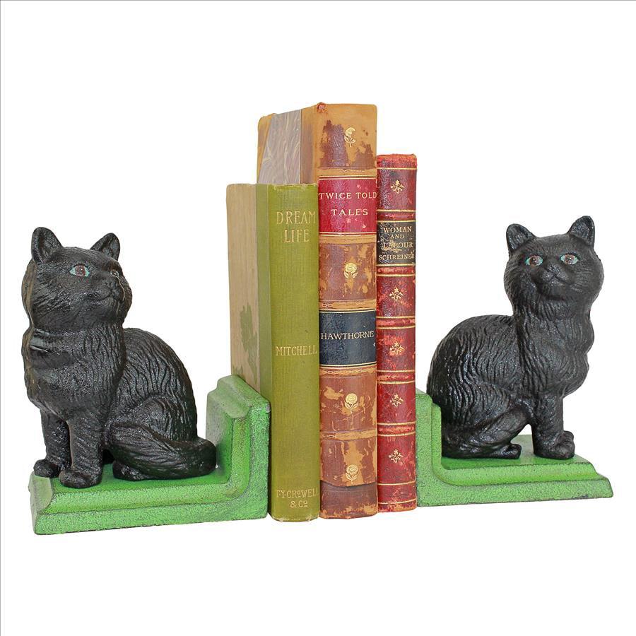 Kitten Kibitzing Cat Cast Iron Sculptural Bookend Pair by Design Toscano