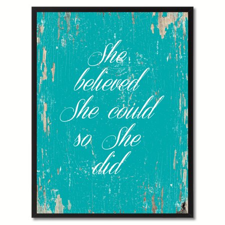 She Believed She Could So She Did Quote Saying Canvas Print Picture Frame Home Decor Wall Art Gift Ideas