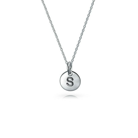 925 Silver Petite Letter S Initial Disc Pendant Necklace 18in