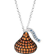 "Hershey's Kisses Women's CZ Sterling Silver Medium Flat Back January (Black Rhodium) Pendant, 16"" with 2"" Extension"