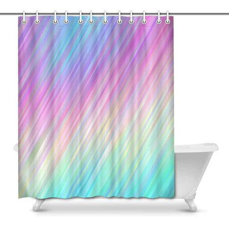 MKHERT Psychedelic Color Neon Gradient Stripes Rainbow Shiny Lines House Decor Shower Curtain Bathroom Decorative