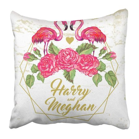BPBOP Floral with Pink Flamingos Bird and Rose Flowers Elegant Golden Geometric Copy Space Wedding Pillowcase Pillow Cushion Cover 18x18 - Geometric Rose