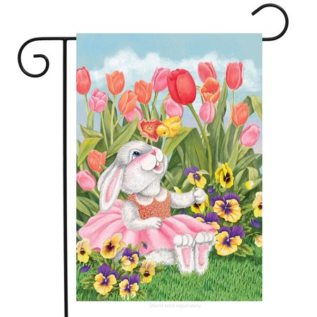 Bunny And Tulips Easter Garden Flag Spring Floral Briarwood Lane 12 5   X 18