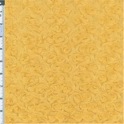 Yellow Minky Rosebuds, Fabric Sold By the Yard