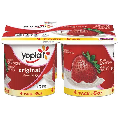 Yoplait Original Strawberry Flavored Lowfat Yogurt Cups, 4 PK
