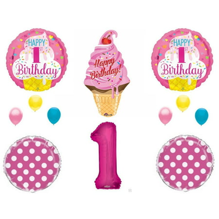 Sweet One Ice Cream 1st Birthday Party Balloons Decoration Supplies First - Ice Cream Decorations