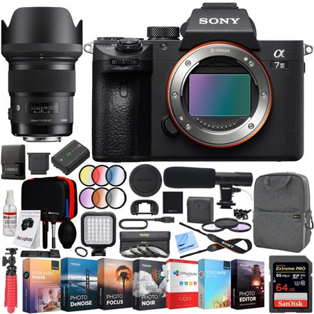 Sony a7 III Full Frame Mirrorless Interchangeable Lens 4K HDR Camera ILCE-7M3 Body with Sigma 50mm F1.4 ART DG HSM E-mount Lens and Deco Gear Backpack Kit Microphone Editing