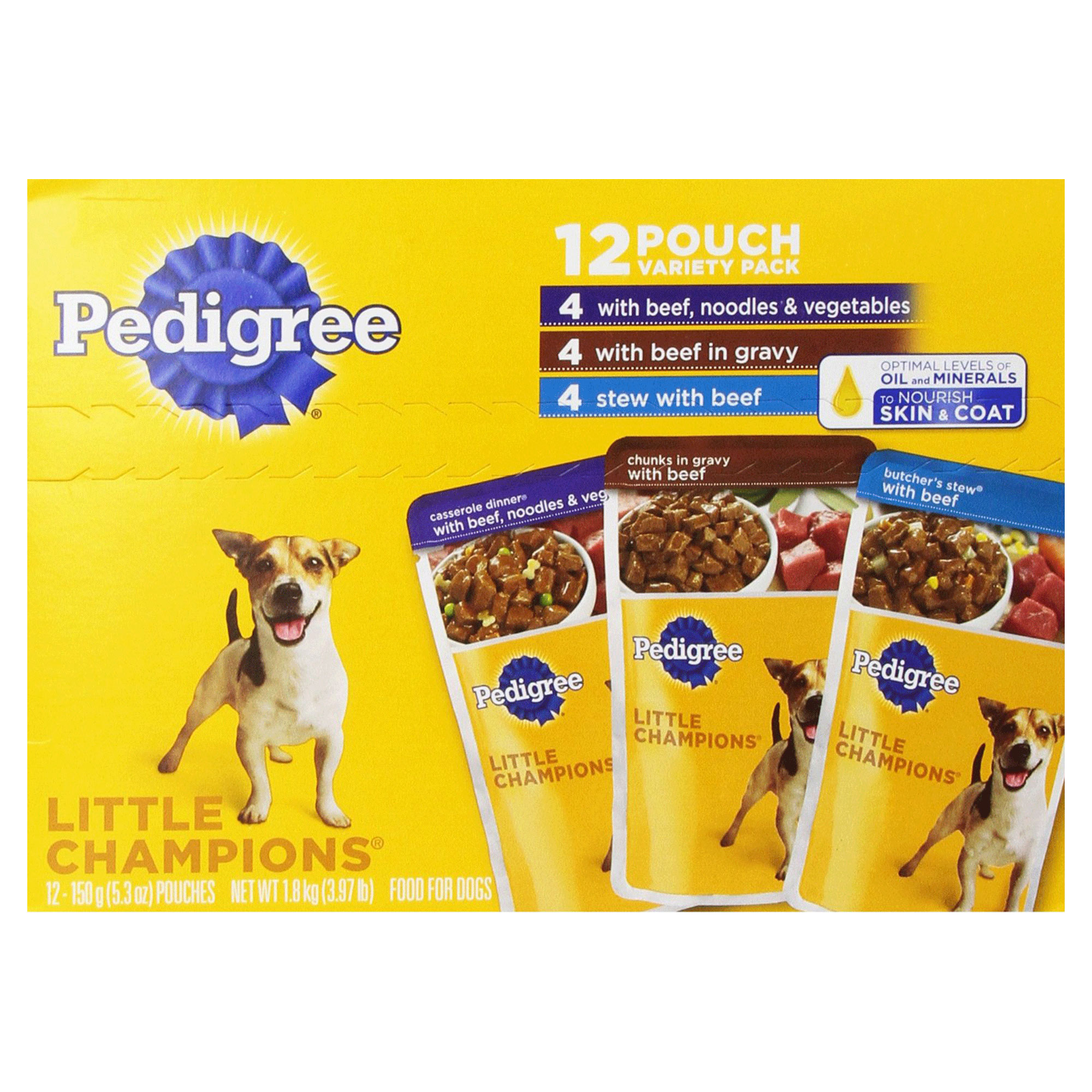 PEDIGREE LITTLE CHAMPIONS Beef Variety Pack Wet Dog Food 5.3 Ounces (Pack of 12)