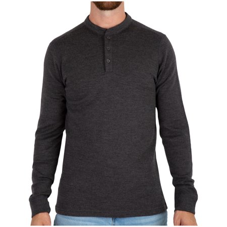 MERIWOOL Merino Wool Men's Heavyweight Baselayer Extra Warm Thermal Henley Pullover Top -