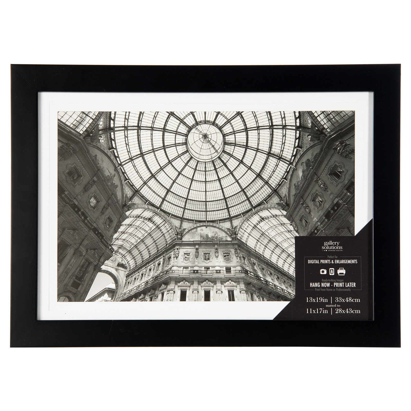 13x19 Wide Flat Black Frame With Mat For 11x17 Image Walmartcom