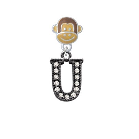 Crystal Black Initial - U - Beaded Border - Monkey Face Charm Bead