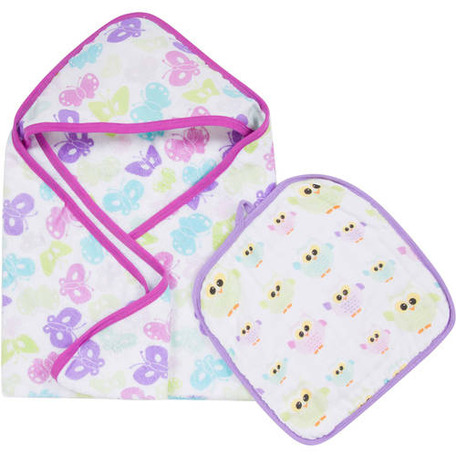 MiracleWare Muslin Cotton Hooded Towel and Washcloth Set by Miracle International, Inc.