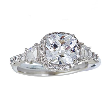 Ygi Slr389 7 Sterling Silver Mm Cushion Cut Halo Engagement Ring With Side Stone Size 7