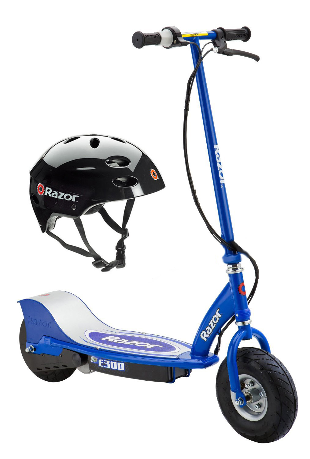 Razor E300 Electric Motorized Kids Ride On Scooter and Black Youth Safety Helmet by Razor