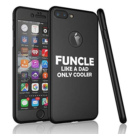Graduation Cooler (360° Full Body Thin Slim Hard Case Cover + Tempered Glass Screen Protector for Apple iPhone Funcle Like A Dad Only Cooler Funny Fun Uncle (Black, for Apple iPhone 6)
