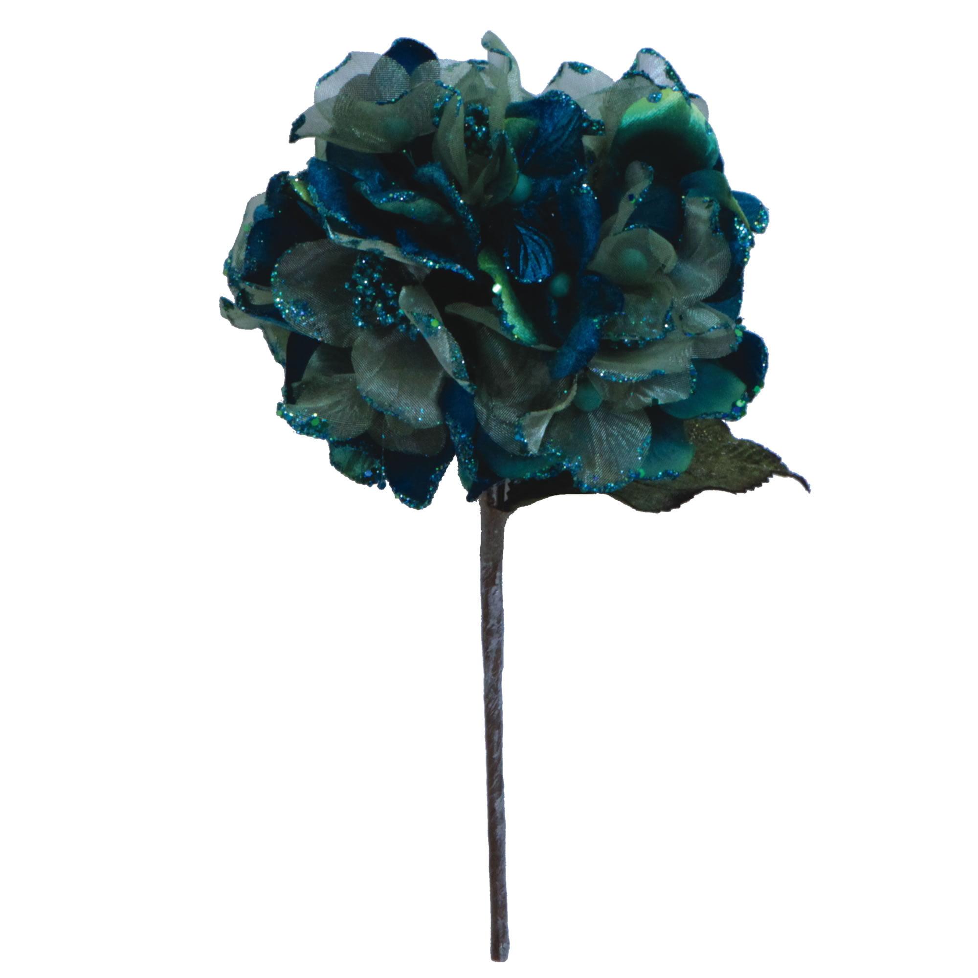 """Vickerman 29"""" Peacock Velvet Hydrangea 7"""" Flower"""