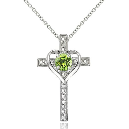 Genuine Peridot Heart Pendant - Sterling Silver Peridot & Diamond Accent Cross Heart Necklace