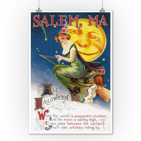 Salem, Massachusetts - Halloween Greeting - Witch on a Broom by Full Moon - Vintage Artwork (9x12 Art Print, Wall Decor Travel Poster) - Last Full Moon On Halloween
